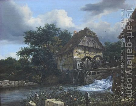 Two Water Mills and an Open Sluice 1653 by Jacob Van Ruisdael - Reproduction Oil Painting