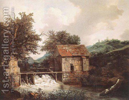 Two Watermills and an Open Sluice near Singraven 1650-52 by Jacob Van Ruisdael - Reproduction Oil Painting