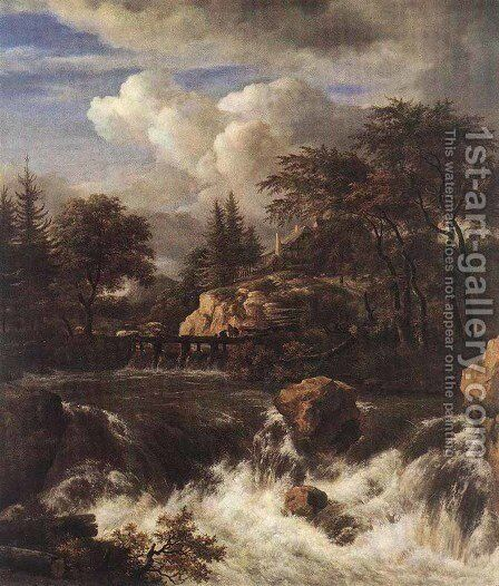 Waterfall in a Rocky Landscape 1660s by Jacob Van Ruisdael - Reproduction Oil Painting