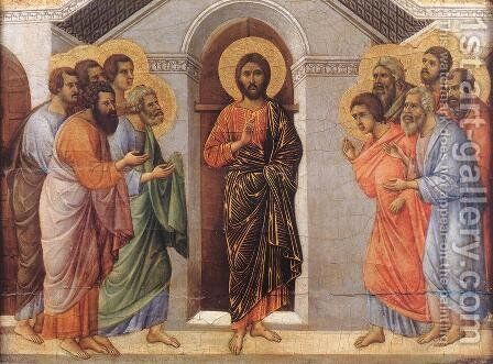 Appearence Behind Locked Doors 1308-11 by Duccio Di Buoninsegna - Reproduction Oil Painting