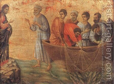 Appearence on Lake Tiberias 1308-11 by Duccio Di Buoninsegna - Reproduction Oil Painting