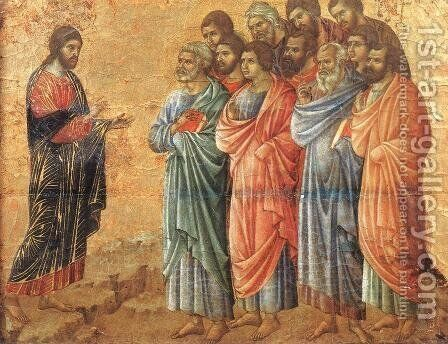Appearence on the Mountain in Galilee 1308-11 by Duccio Di Buoninsegna - Reproduction Oil Painting