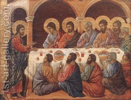 Appearence While the Apostles are at Table 1308-11 by Duccio Di Buoninsegna - Reproduction Oil Painting