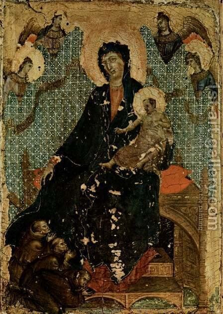 Madonna of the Franciscans c. 1300 by Duccio Di Buoninsegna - Reproduction Oil Painting