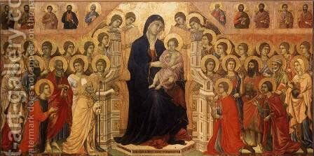 Maesta (Madonna with Angels and Saints) 1308-11 by Duccio Di Buoninsegna - Reproduction Oil Painting