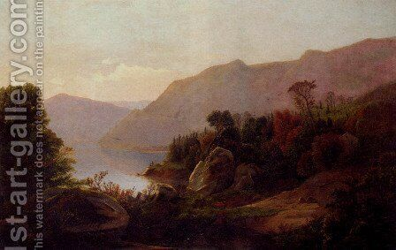 A Mountainous Lake Landscape by William Trost Richards - Reproduction Oil Painting