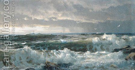 Surf On Rocks by William Trost Richards - Reproduction Oil Painting