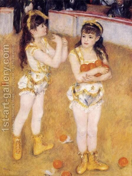 Acrobats At The Cirque Fernando Aka Francisca And Angelina Wartenberg by Pierre Auguste Renoir - Reproduction Oil Painting
