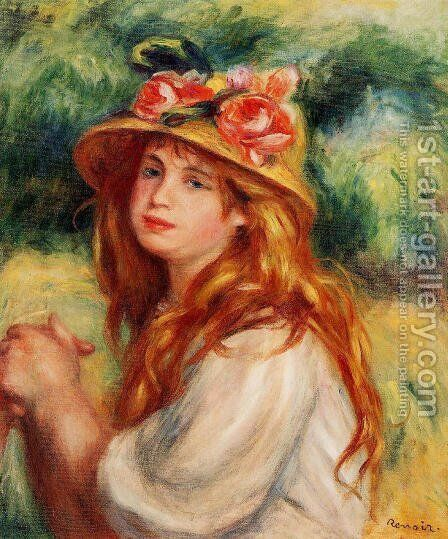 Blond In A Straw Hat Aka Seated Girl by Pierre Auguste Renoir - Reproduction Oil Painting
