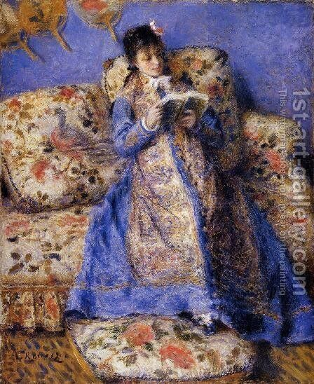 Camille Monet Reading by Pierre Auguste Renoir - Reproduction Oil Painting