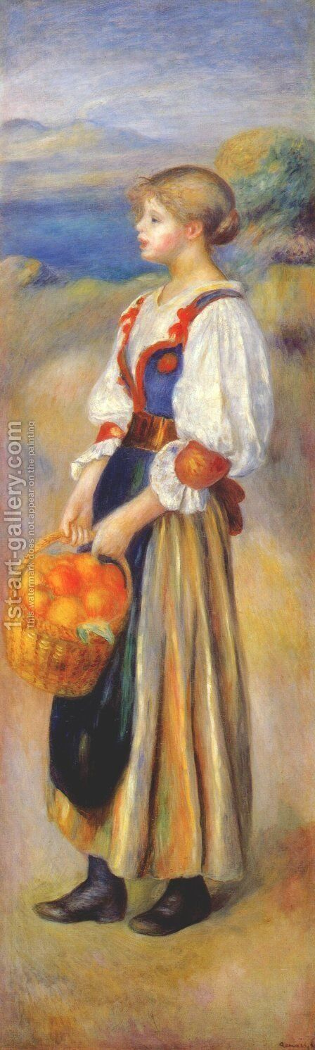 Girl With A Basket Of Oranges by Pierre Auguste Renoir - Reproduction Oil Painting