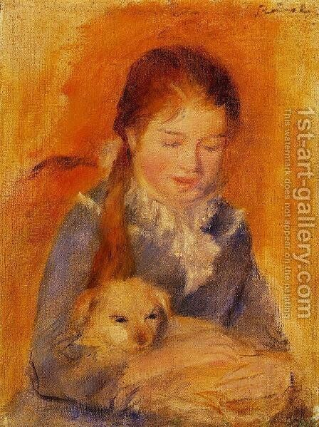 Girl With A Dog by Pierre Auguste Renoir - Reproduction Oil Painting