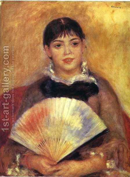 Girl With A Fan Aka Alphonsine Fournaise by Pierre Auguste Renoir - Reproduction Oil Painting