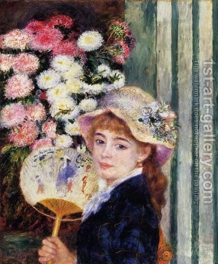 Girl With Fan by Pierre Auguste Renoir - Reproduction Oil Painting