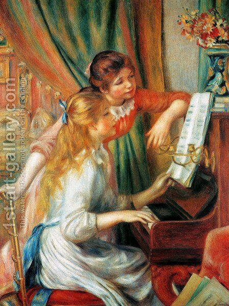 Girls At The Piano2 by Pierre Auguste Renoir - Reproduction Oil Painting