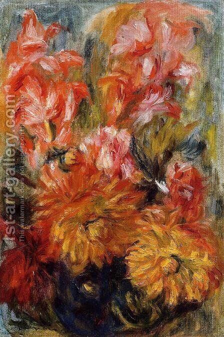 Gladiolas In A Blue Vase by Pierre Auguste Renoir - Reproduction Oil Painting
