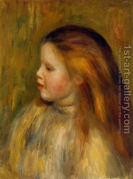 Head Of A Little Girl In Profile by Pierre Auguste Renoir - Reproduction Oil Painting