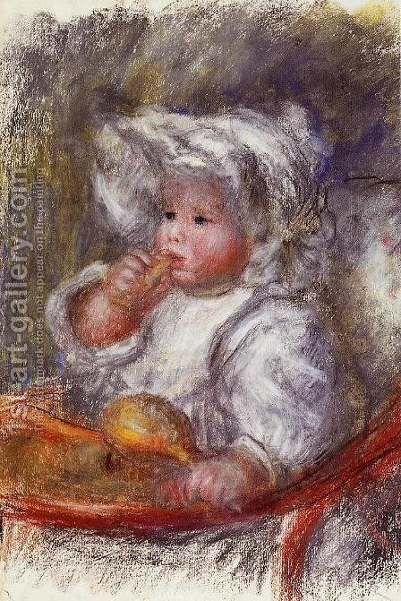 Jean Renoir In A Chair Aka Child With A Biscuit by Pierre Auguste Renoir - Reproduction Oil Painting