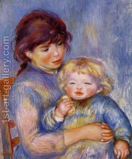 Motherhood Aka Child With A Biscuit by Pierre Auguste Renoir - Reproduction Oil Painting