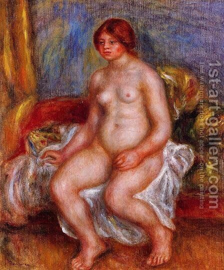 Nude Woman On Gree Cushions by Pierre Auguste Renoir - Reproduction Oil Painting