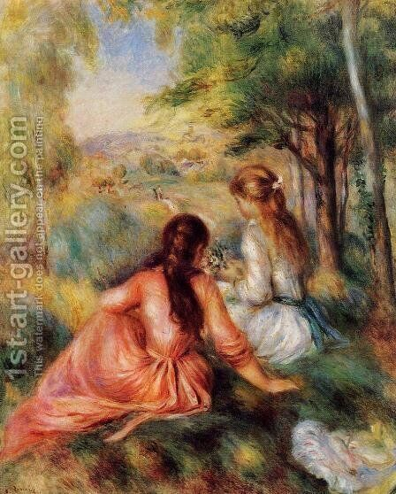Picking Flowers Aka In The Field by Pierre Auguste Renoir - Reproduction Oil Painting