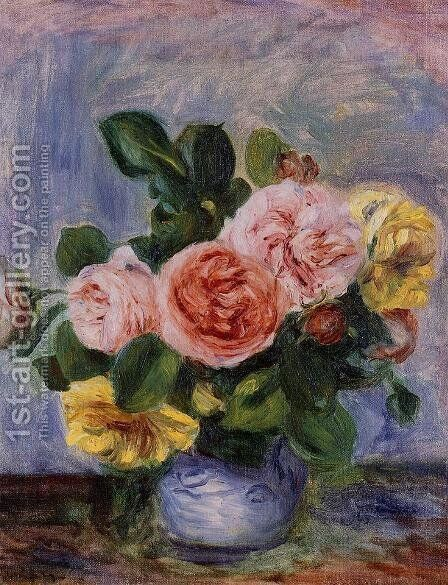 Roses In A Vase2 by Pierre Auguste Renoir - Reproduction Oil Painting