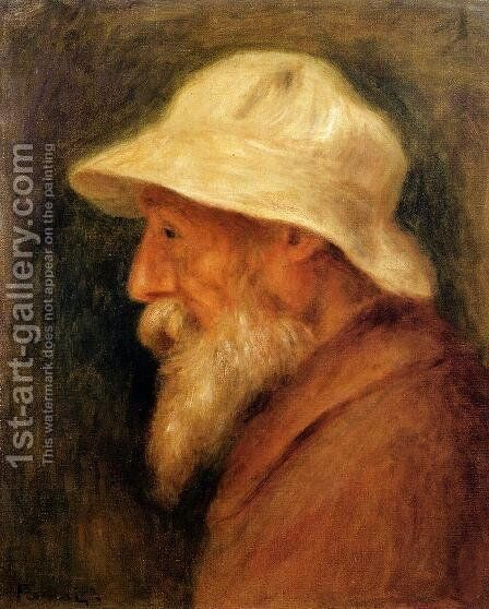 Self Portrait With A White Hat by Pierre Auguste Renoir - Reproduction Oil Painting
