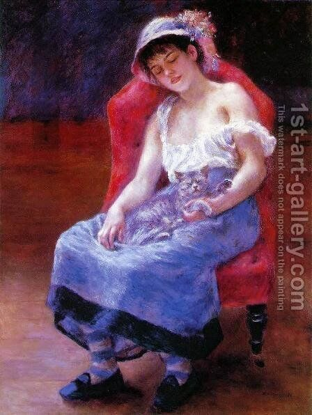 Sleeping Girl Aka Girl With A Cat by Pierre Auguste Renoir - Reproduction Oil Painting