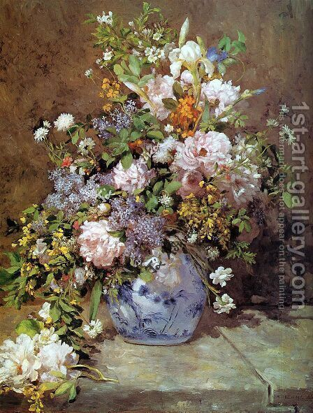 Spring Bouquet Painting By Pierre Auguste Renoir Reproduction 1st Art Gallery