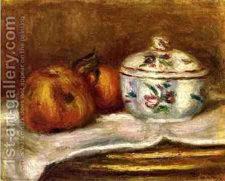 Sugar Bowl  Apple And Orange by Pierre Auguste Renoir - Reproduction Oil Painting