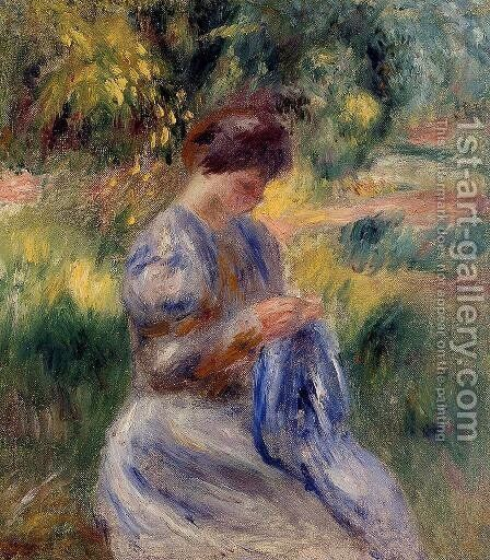 The Embroiderer Aka Woman Embroidering In A Garden by Pierre Auguste Renoir - Reproduction Oil Painting