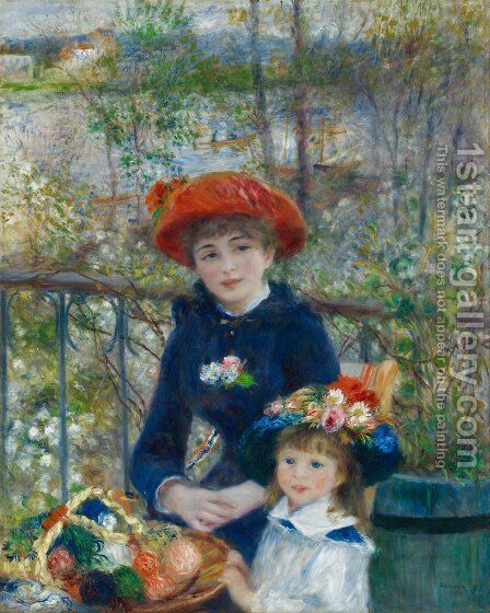 Two Sisters Aka On The Terrace by Pierre Auguste Renoir - Reproduction Oil Painting