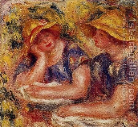 Two Women In Blue Blouses by Pierre Auguste Renoir - Reproduction Oil Painting