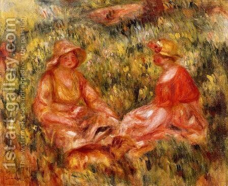 Two Women In The Grass by Pierre Auguste Renoir - Reproduction Oil Painting