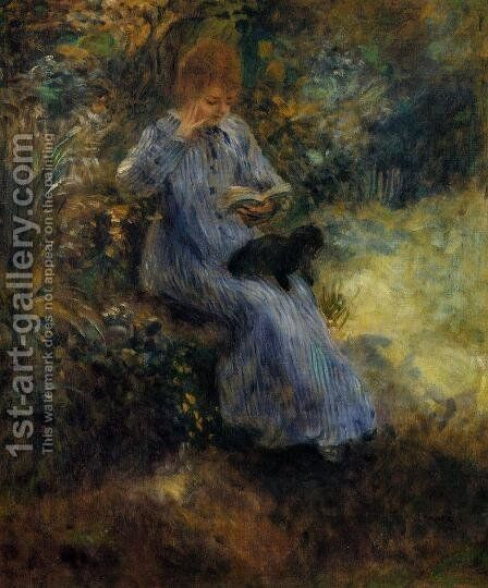 Woman With A Black Dog by Pierre Auguste Renoir - Reproduction Oil Painting