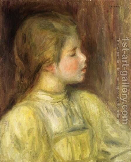 Womans Head  The Thinker by Pierre Auguste Renoir - Reproduction Oil Painting