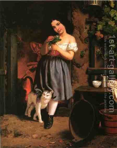 A Young Girl With Cat by Berthe Morisot - Reproduction Oil Painting
