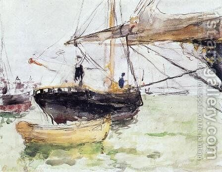 Aboard A Yacht by Berthe Morisot - Reproduction Oil Painting