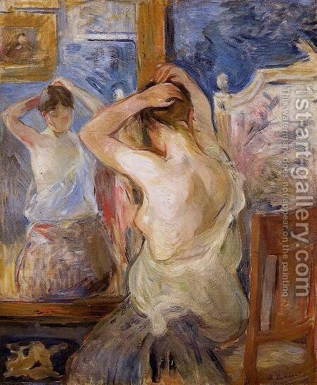 Before The Mirror by Berthe Morisot - Reproduction Oil Painting