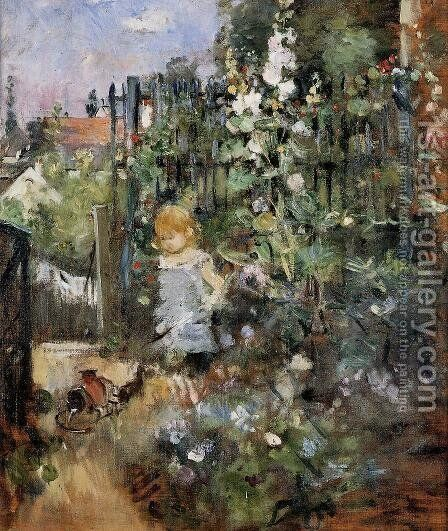 Child In The Rose Garden by Berthe Morisot - Reproduction Oil Painting