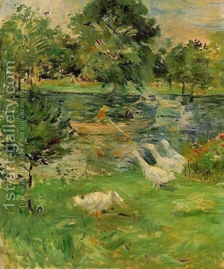 Girl in a Boat, with Geese 1889 by Berthe Morisot - Reproduction Oil Painting
