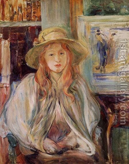 Girl In A Straw Hat by Berthe Morisot - Reproduction Oil Painting
