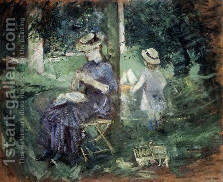 Girl Sewing In A Garden by Berthe Morisot - Reproduction Oil Painting