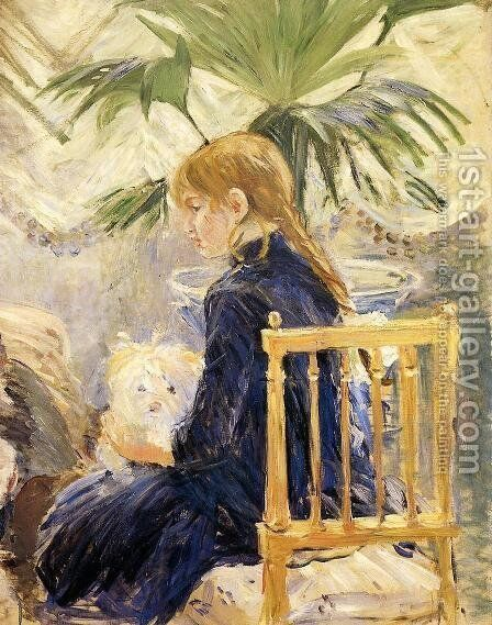 Girl With Dog by Berthe Morisot - Reproduction Oil Painting