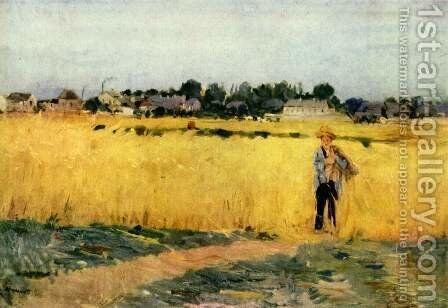 In The Wheat Fields At Gennevilliers by Berthe Morisot - Reproduction Oil Painting