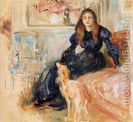 Julie Manet and her Greyhound Laertes 1893 by Berthe Morisot - Reproduction Oil Painting