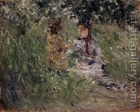 Julie With Pasie In The Garden At Bougival by Berthe Morisot - Reproduction Oil Painting