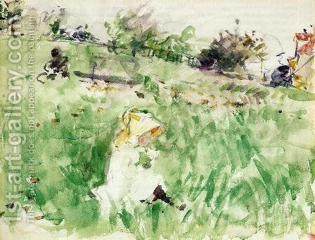 Little Girl Sitting On The Grass by Berthe Morisot - Reproduction Oil Painting