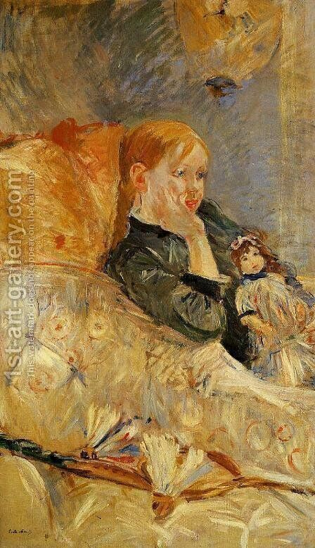 Little Girl With A Doll by Berthe Morisot - Reproduction Oil Painting