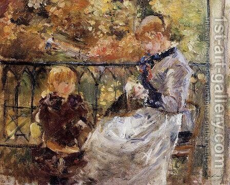 On The Balcony Of Eugene Manets Room At Bougival by Berthe Morisot - Reproduction Oil Painting